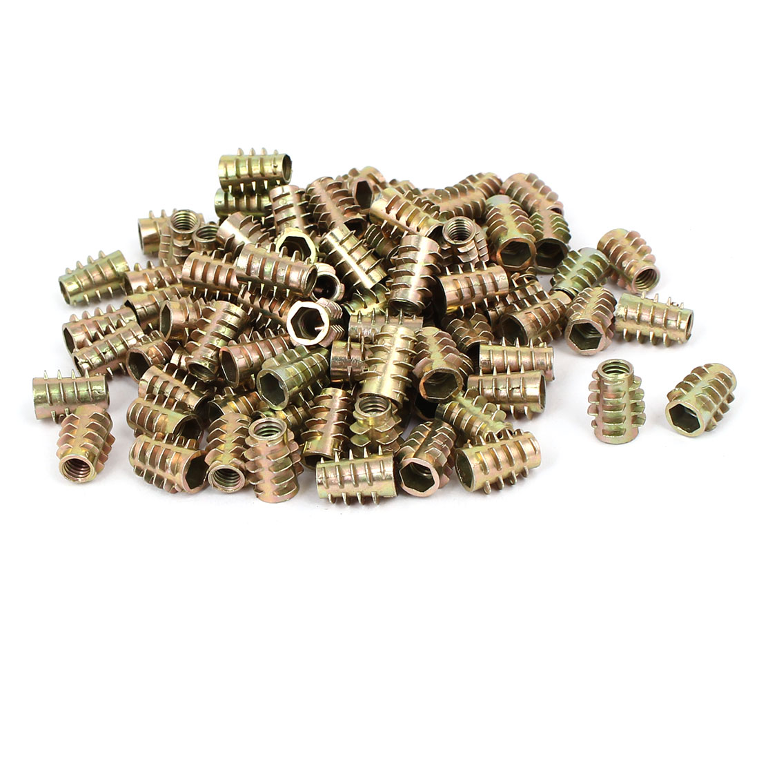 Wood Furniture Zinc Alloy Hex Socket Insert Screws E-Nuts M6x15mm 100pcs