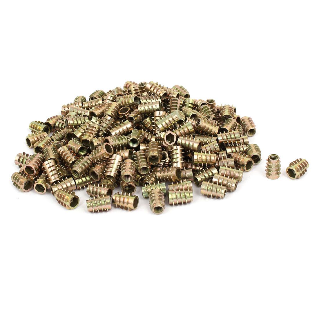 Wood Furniture Zinc Alloy Hex Socket Insert Screws E-Nuts M6x15mm 200pcs
