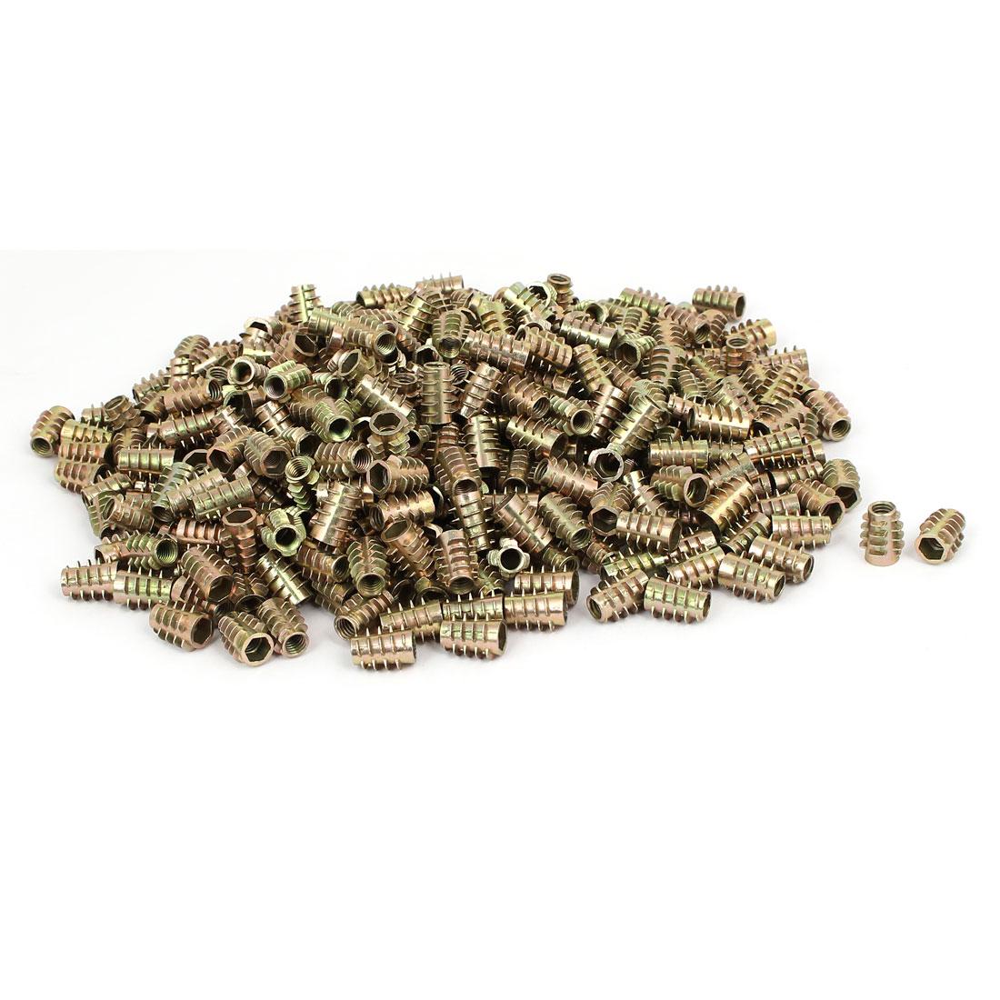 Wood Furniture Zinc Alloy Hex Socket Insert Screws E-Nuts M6x15mm 500pcs