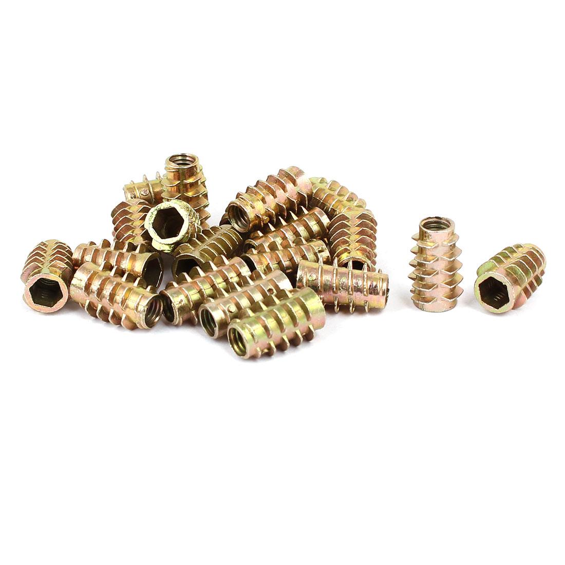Wood Furniture Zinc Alloy Hex Socket Insert Screws E-Nuts M6x18mm 20pcs