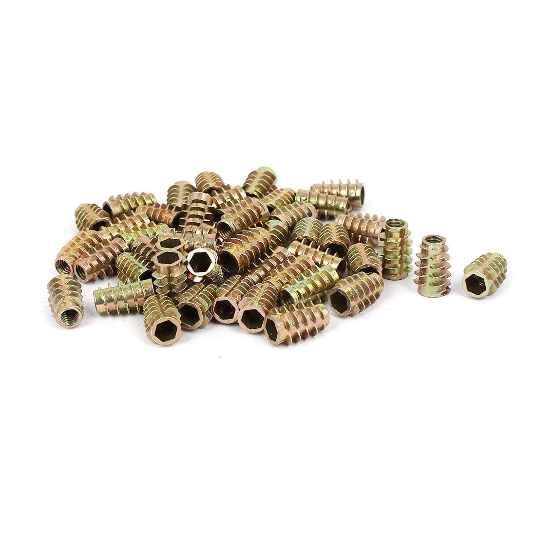 Wood Furniture Zinc Alloy Hex Socket Insert Screws E-Nuts M6x18mm 50pcs