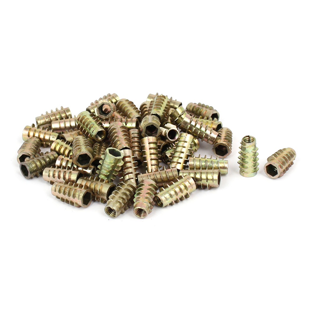 Wood Furniture Zinc Alloy Hex Socket Insert Screws E-Nuts M6 x 20mm 50pcs
