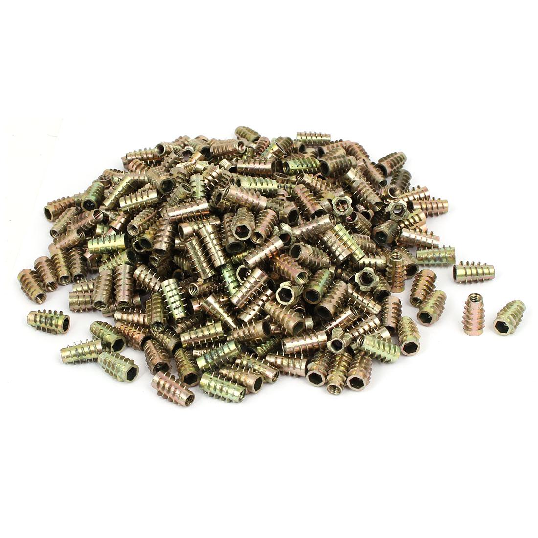 Wood Furniture Zinc Alloy Hex Socket Insert Screws E-Nuts M6 x 20mm 500pcs