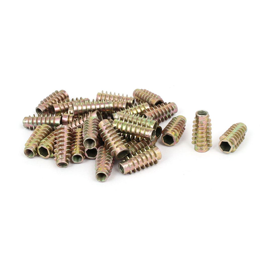 Wood Furniture Zinc Alloy Hex Socket Insert Screws E-Nuts M6x25mm 30pcs