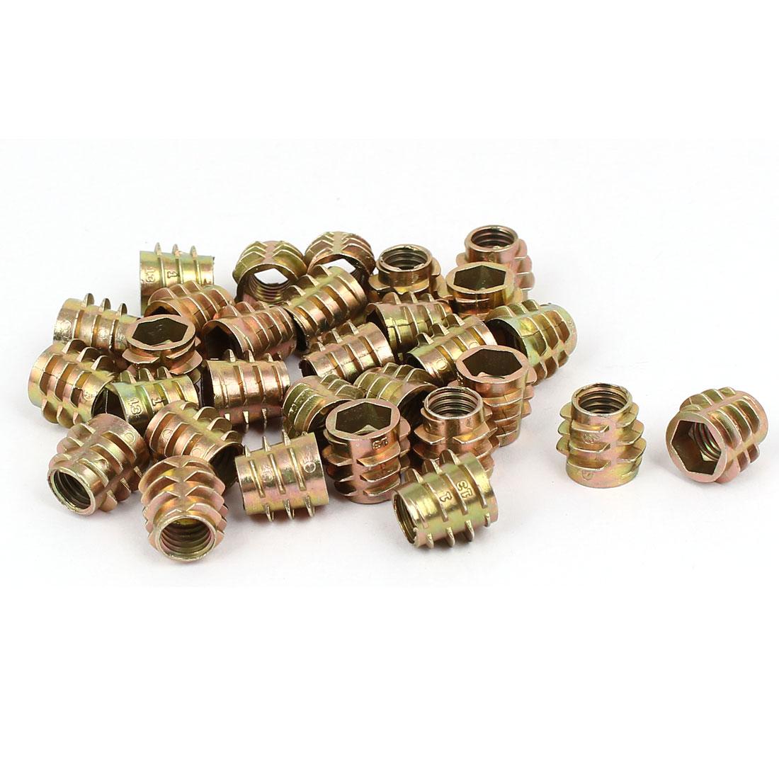 Wood Furniture Zinc Alloy Hex Socket Insert Screws E-Nuts M8x13mm 30pcs