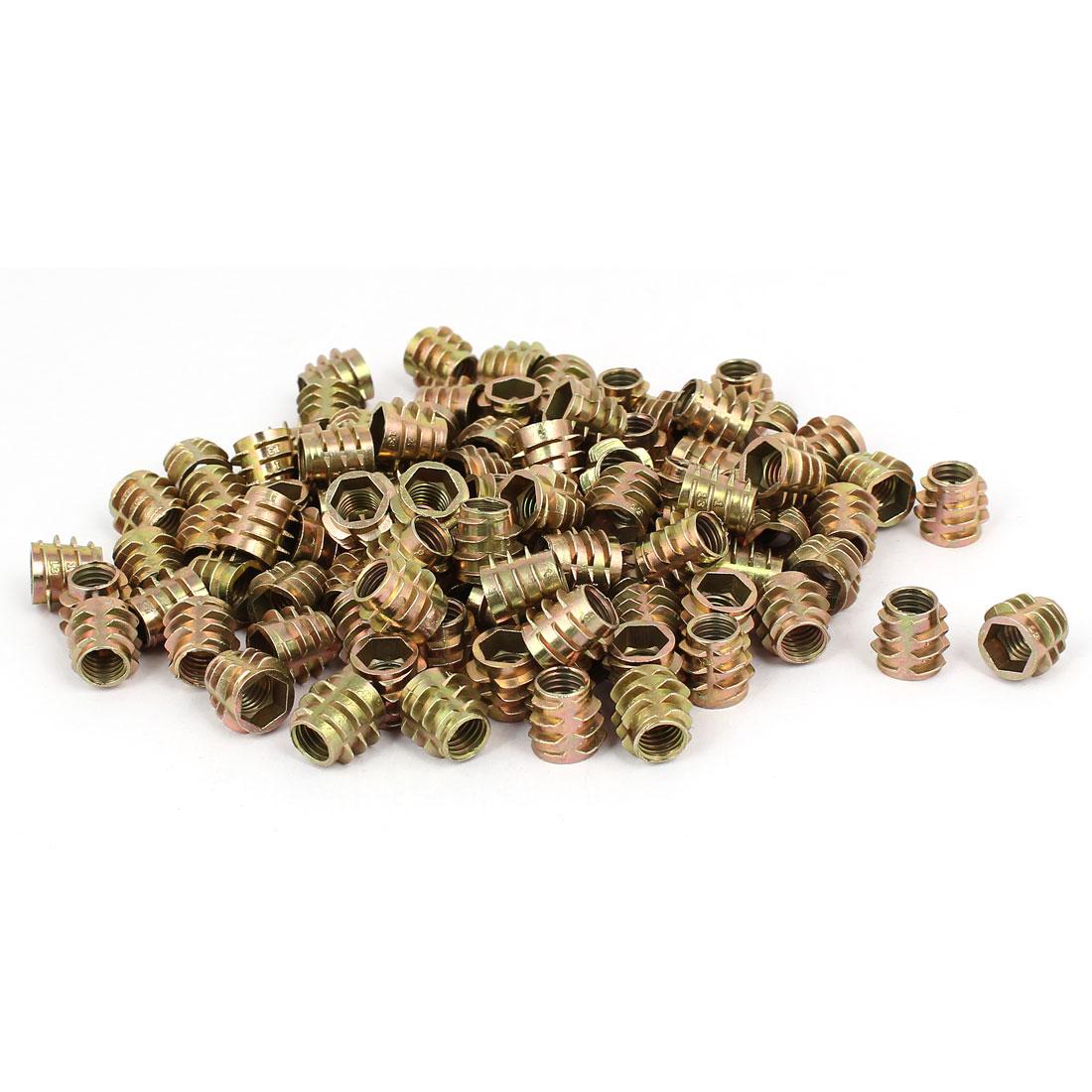 Wood Furniture Zinc Alloy Hex Socket Insert Screws E-Nuts M8x13mm 100pcs