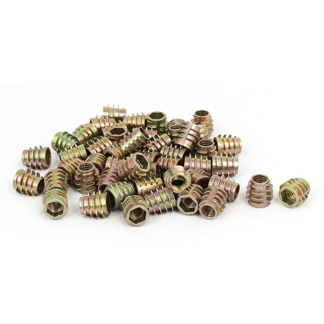 Wood Furniture Zinc Alloy Hex Socket Insert Screws E-Nuts M8x15mm 50pcs
