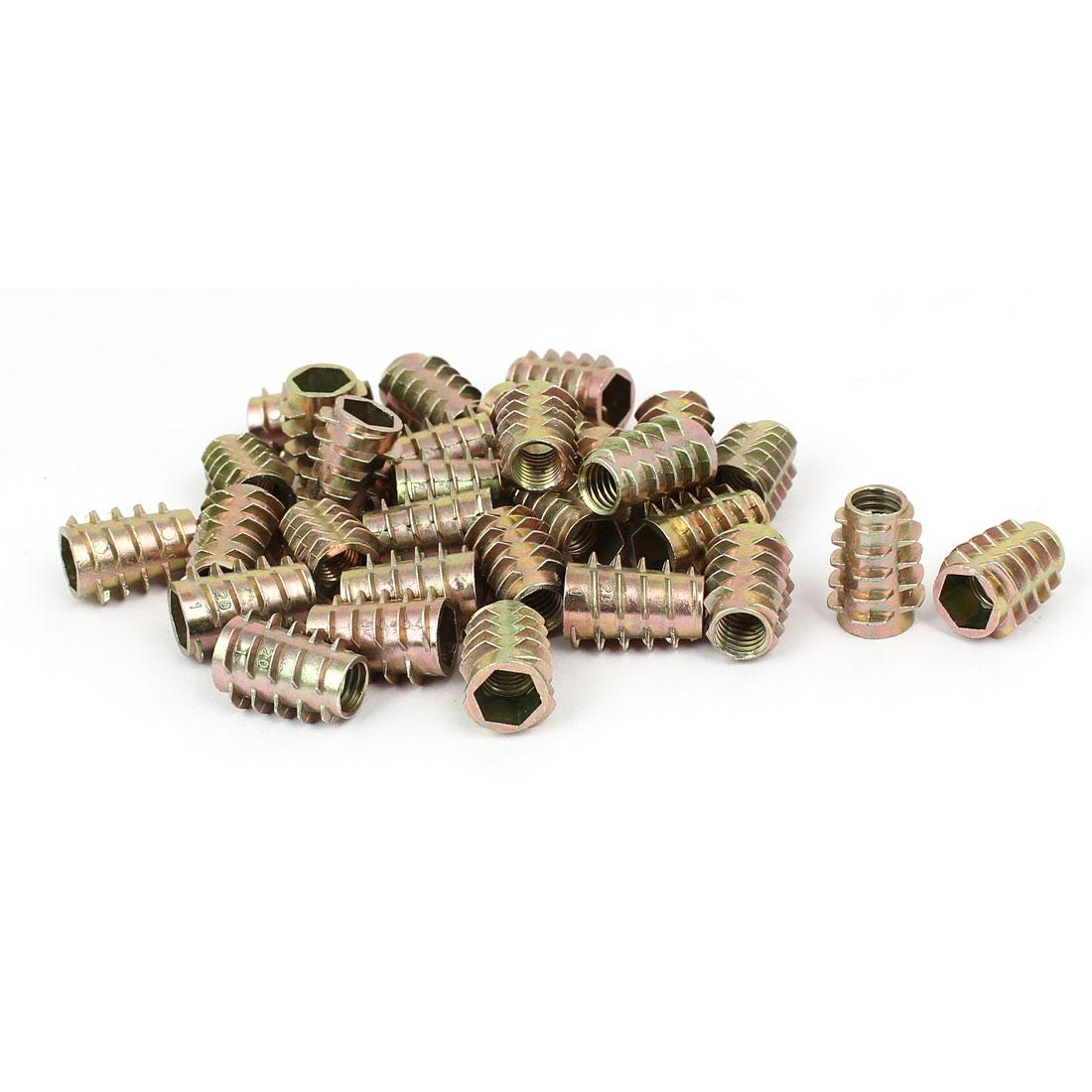Wood Furniture Zinc Alloy Hex Socket Insert Screws E-Nuts M8x20mm 30pcs