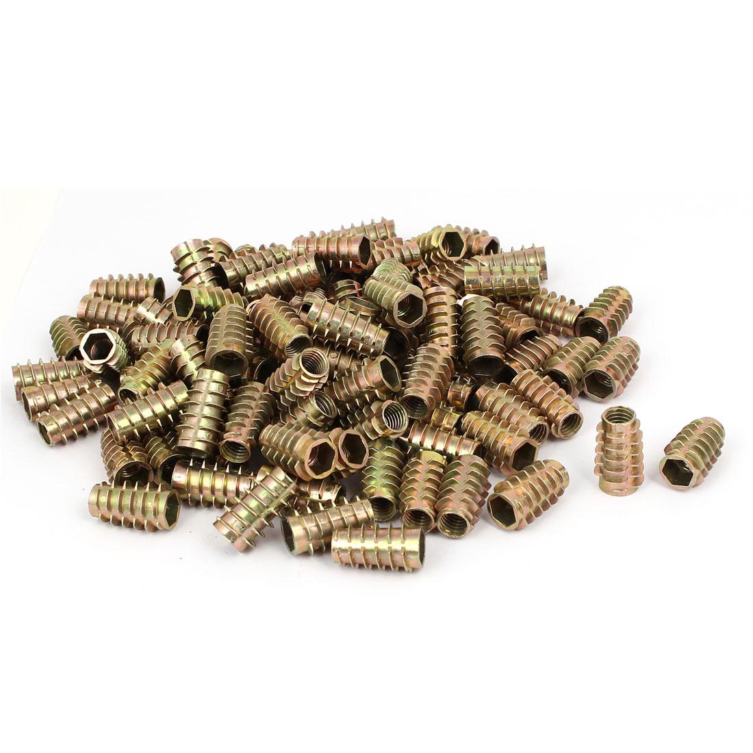Wood Furniture Zinc Alloy Hex Socket Insert Screws E-Nuts M8x25mm 100pcs