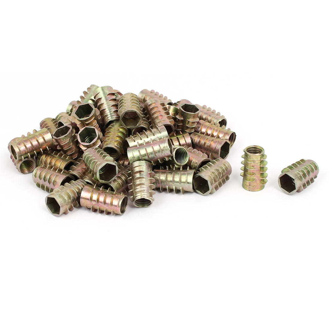 Wood Furniture Zinc Alloy Hex Socket Insert Screws E-Nuts M10x25mm 50pcs