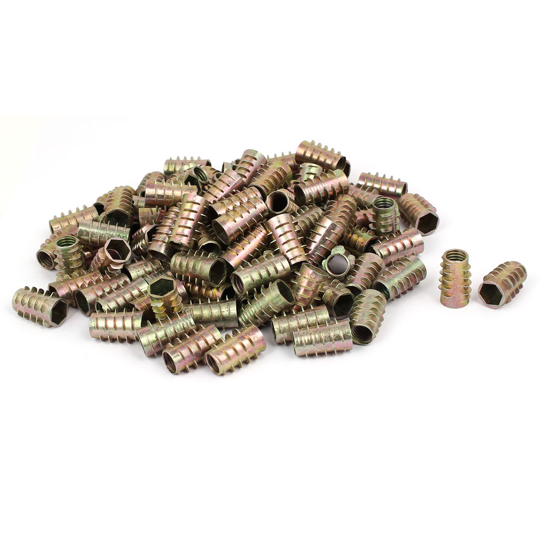 Wood Furniture Zinc Alloy Hex Socket Insert Screws E-Nuts M10x25mm 100pcs