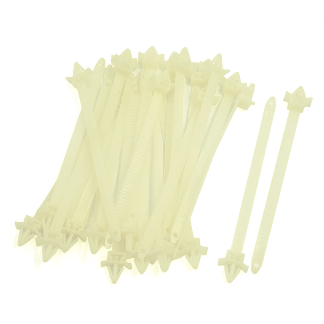 25pcs 10mm x 150mm Adjustable Nylon Push Mount Cable Ties Zip Wire Fasten - Random Color Beige to White