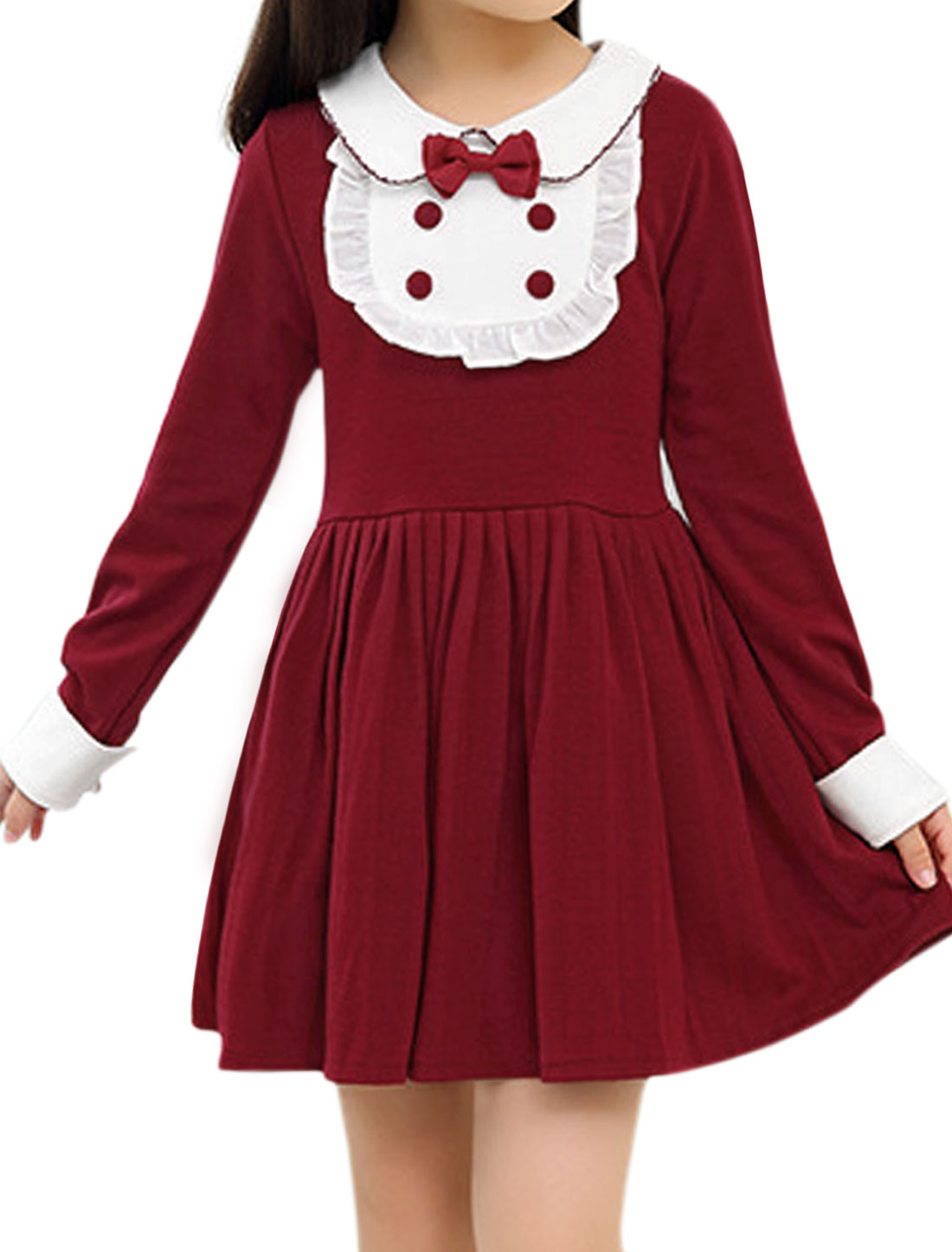 Girls Doll Collar Long Sleeves Contrast Color Pleated Flare Dress Red 4