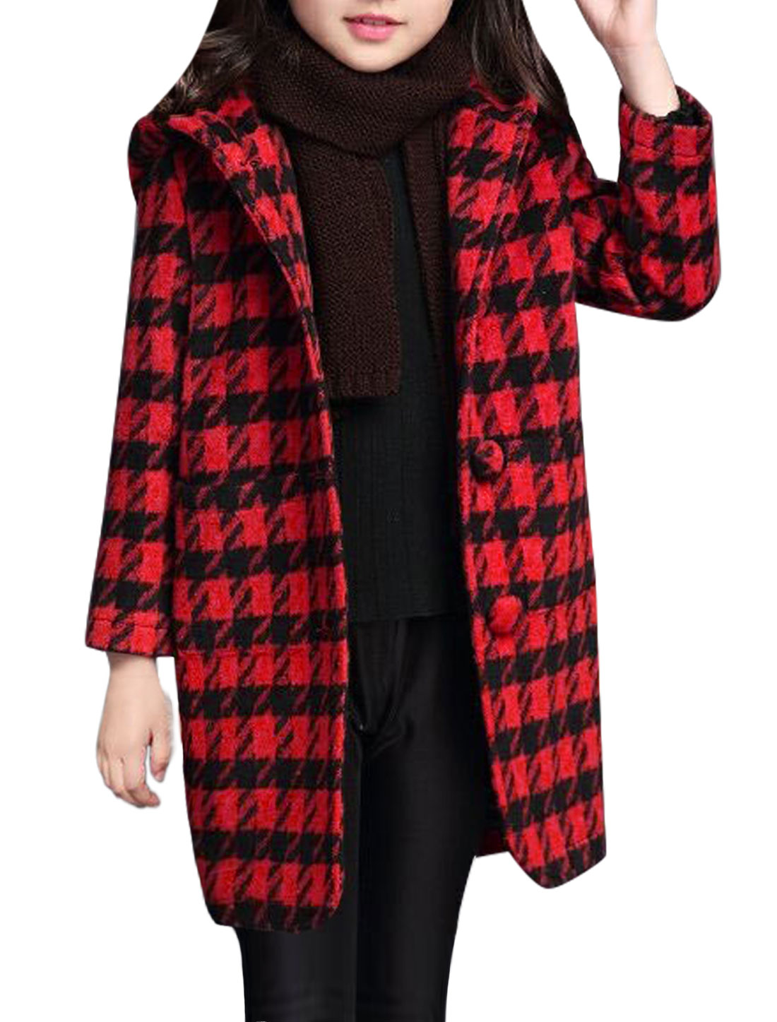 Girls Houndstooth Pattern Buttoned Hooded Worsted Coat Red 6X