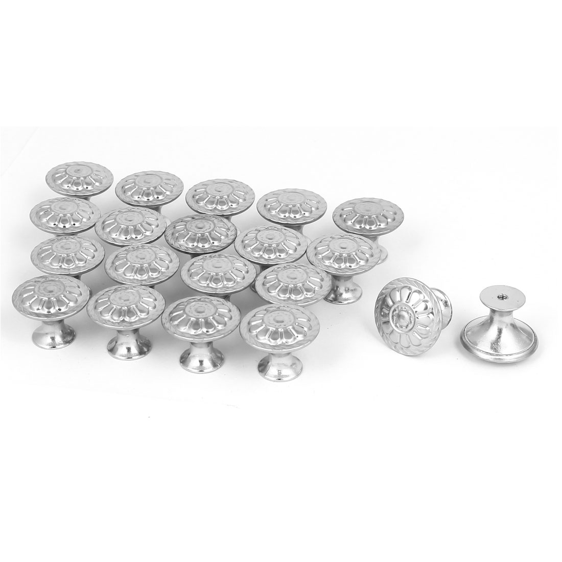 Wardrobe Drawer Single Hole Flower Printed Pull Knobs Grips 27.5mmx21.5mm 20pcs