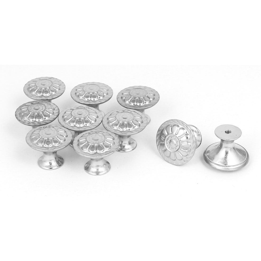 Wardrobe Drawer Single Hole Flower Printed Pull Knobs Grips 27.5mmx21.5mm 10pcs