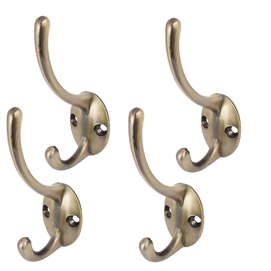 Bedroom Clothes Coat Hanging Retro Style Double Hanger Hooks Bronze Tone 4pcs