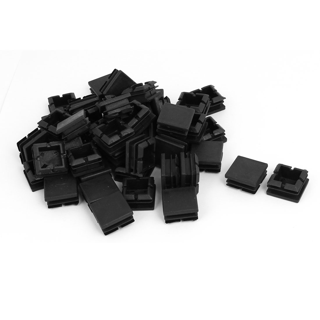 25mmx25mm Plastic Square Blanking End Caps Tube Inserts Black 50pcs