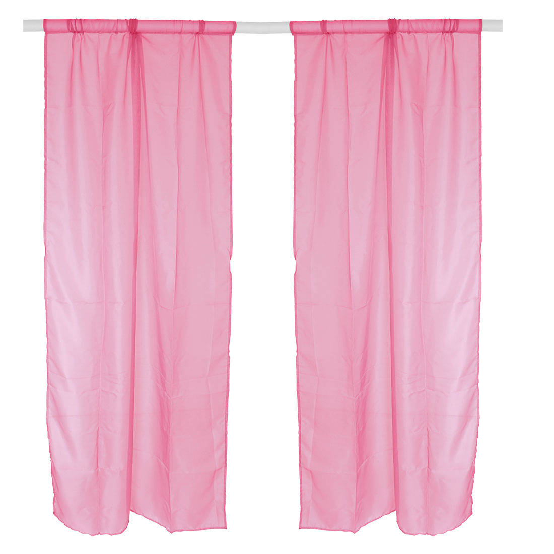 Bedroom Polyester Background Divider Panel Window Sheer Curtain Pink 100 x 200cm