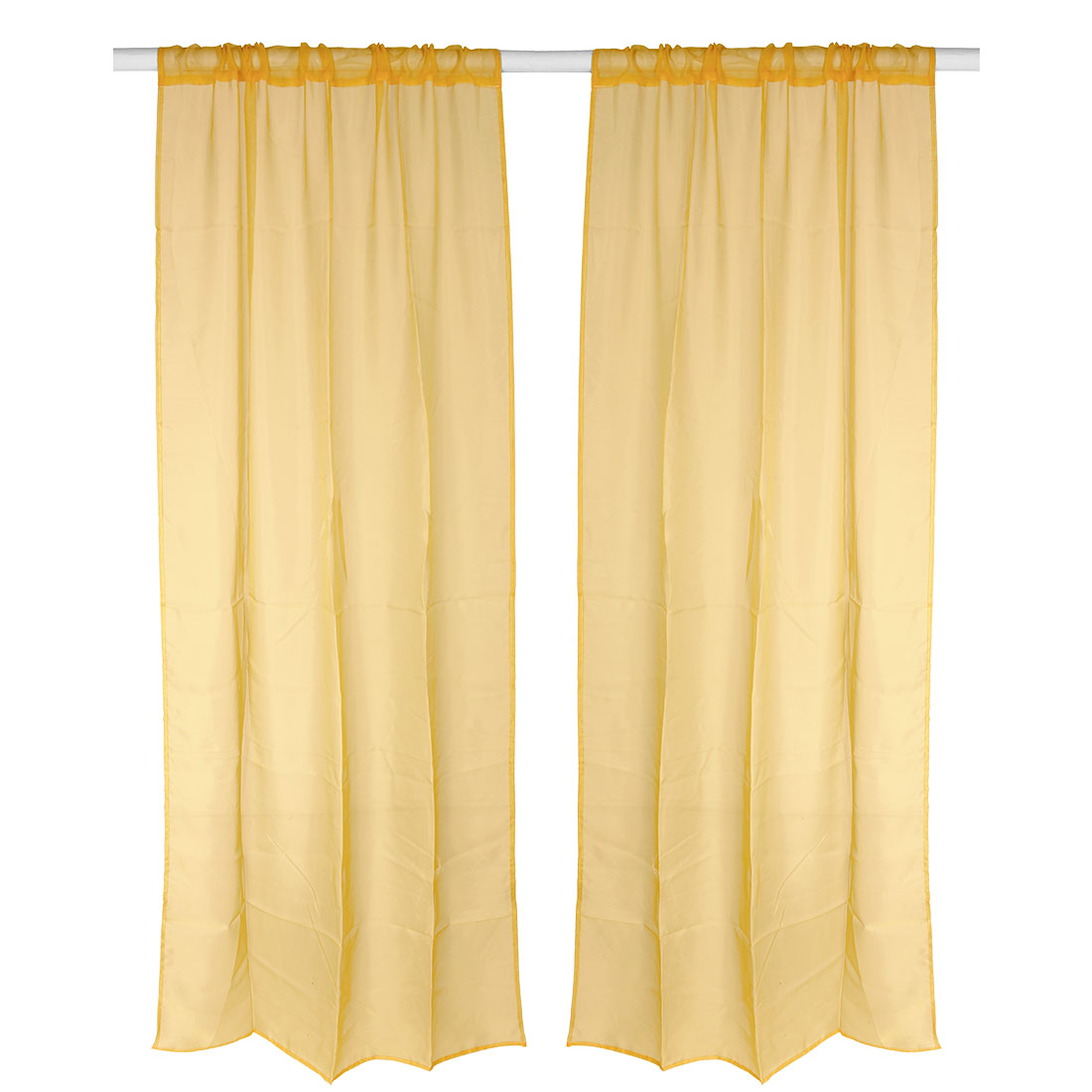 Bedroom Decorative Voile Panel Screen Window Sheer Curtain Orange 100 x 200cm