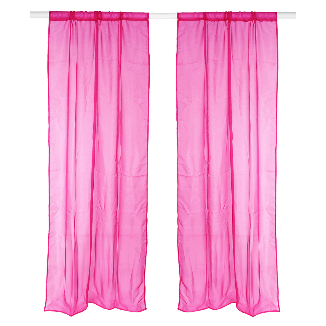 Home Bedroom Decorative Voile Panel Window Sheer Curtain Fuchsia 100 x 200cm