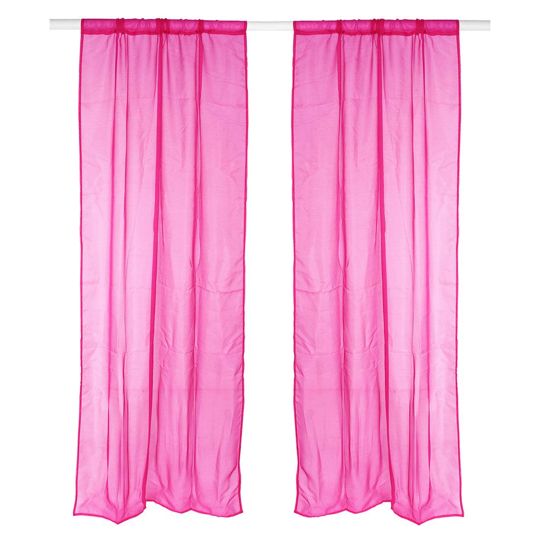 Home Bedroom Decorative Voile Panel Window Sheer Curtain Fuchsia 100 x 200cm