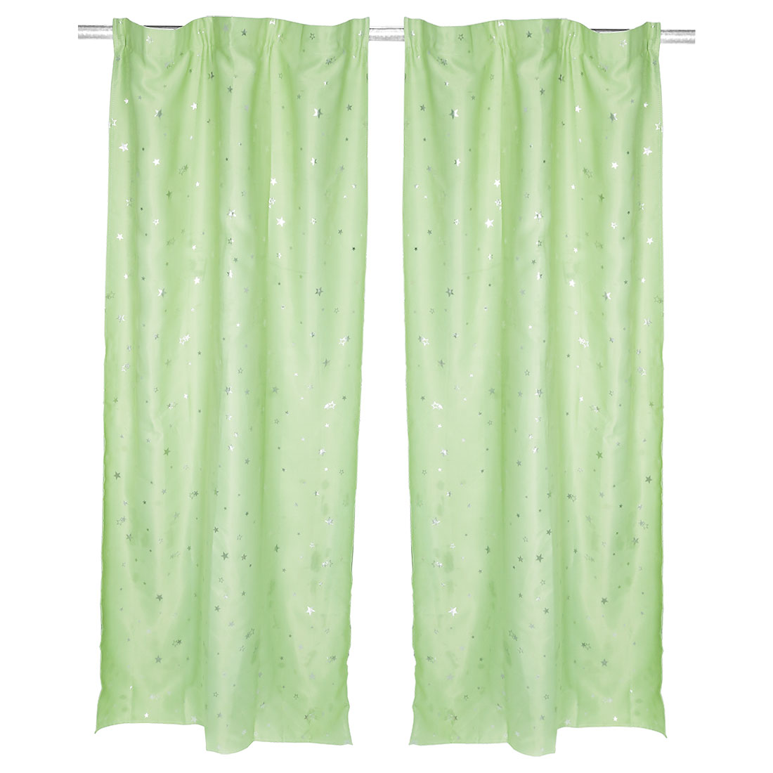 Living Room Star Pattern Decorative Panel Window Sheer Curtain Green 100 x 200cm
