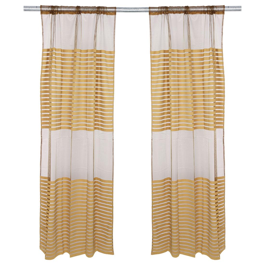 Bedroom Stripe Pattern Decorative Panel Window Sheer Curtain Brown 100 x 200cm