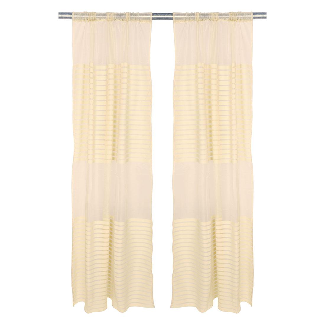 Home Bedroom Stripe Pattern Decorative Window Sheer Curtain Beige 100 x 200cm