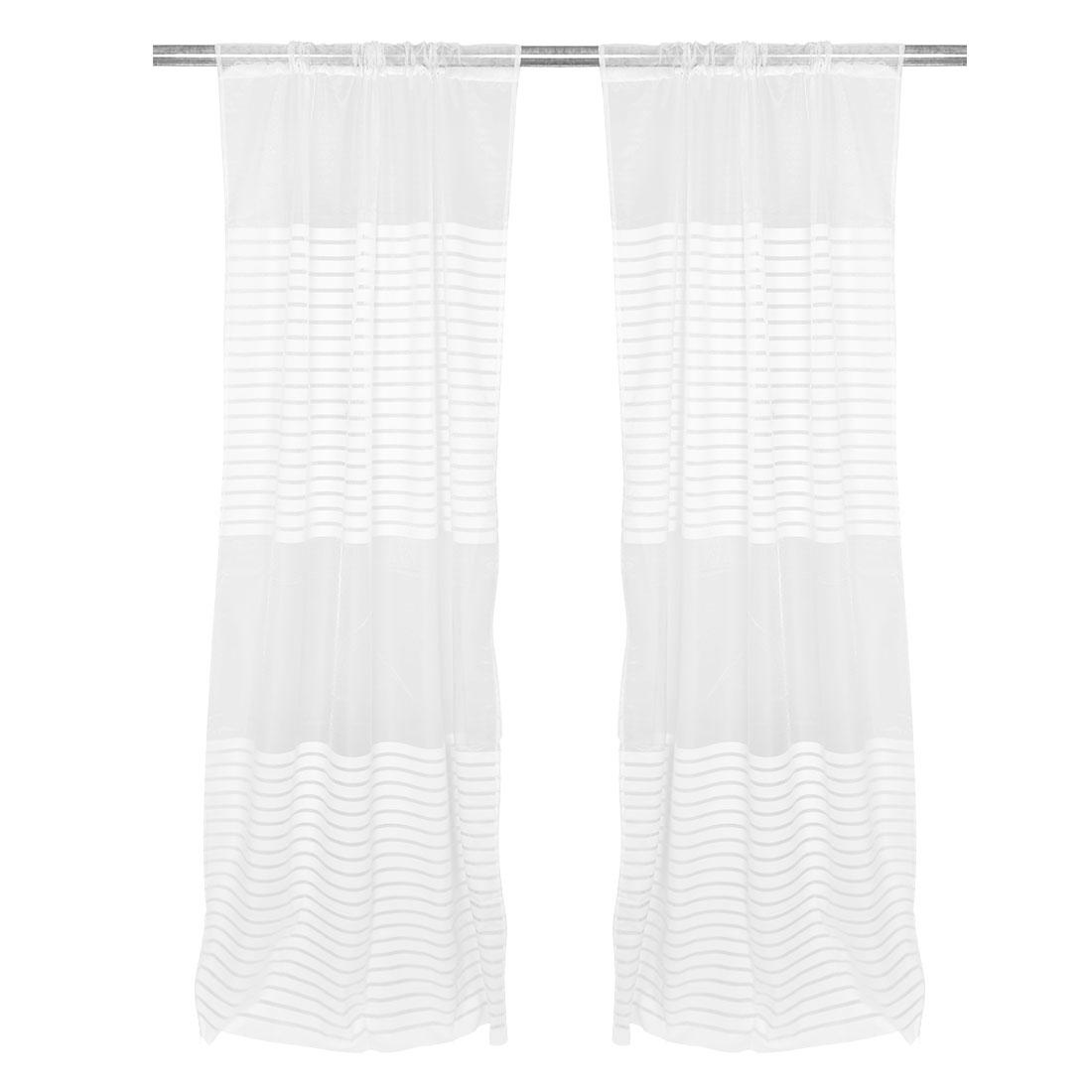 Household Stripe Pattern Decorative Panel Window Sheer Curtain White 100 x 200cm