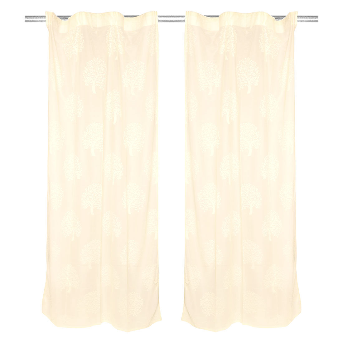 Bathroom Tree Pattern Wrinkle Resistent Window Sheer Curtain Beige 100 x 200cm