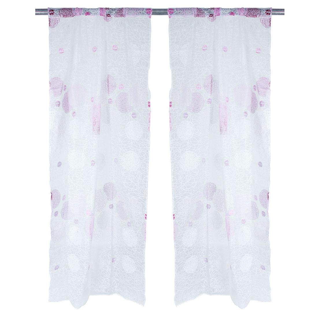 Home Spiral Pattern Decorative Panel Window Sheer Curtain Purple 100 x 200cm