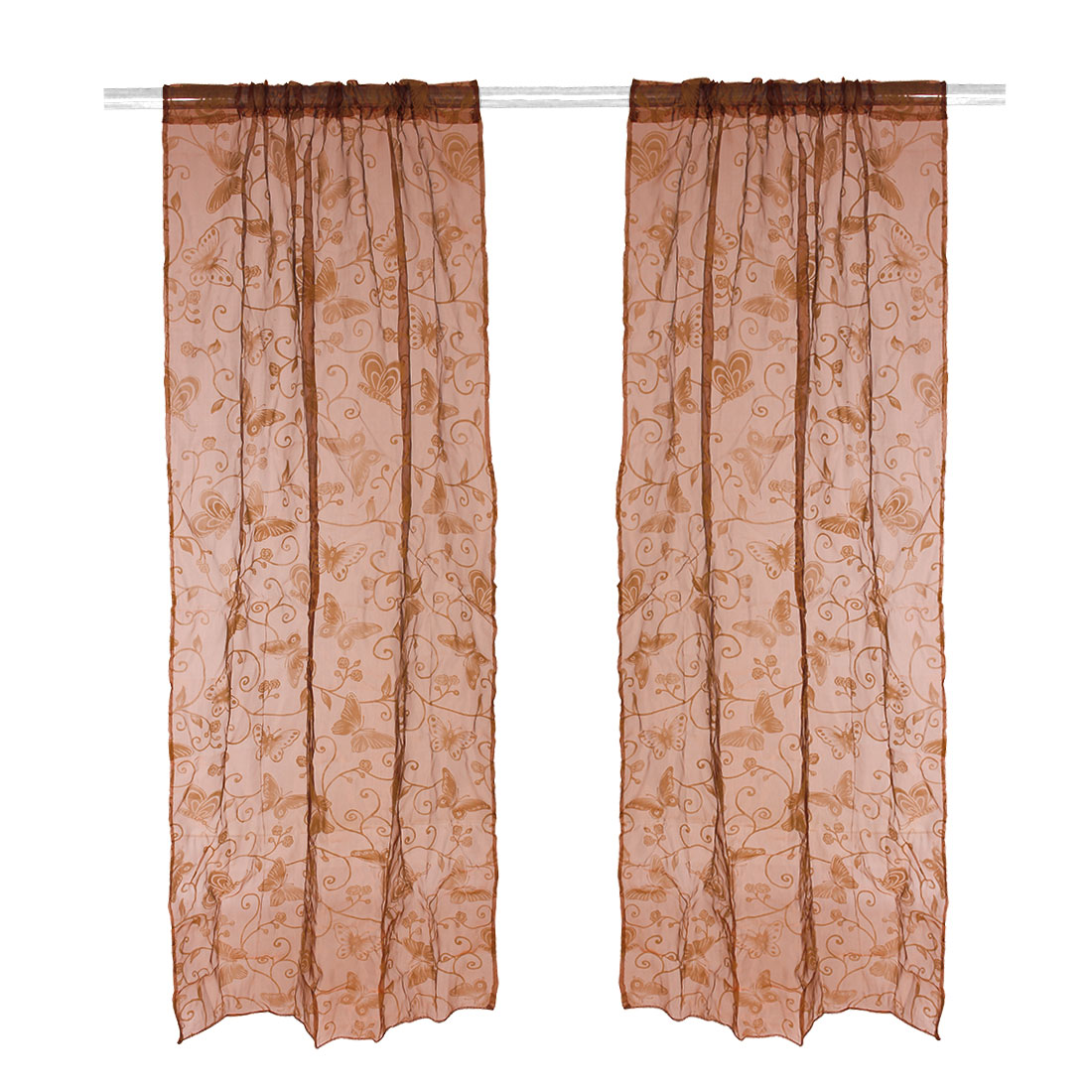 Hotel Butterfly Pattern Valance Drape Panel Voile Sheer Curtain Coffee Color