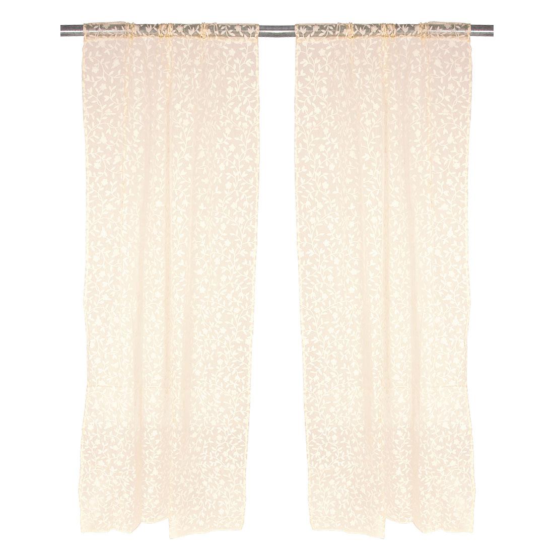 Door Polyester Leaves Pattern Screen Window Sheer Curtain Beige 100 x 200cm