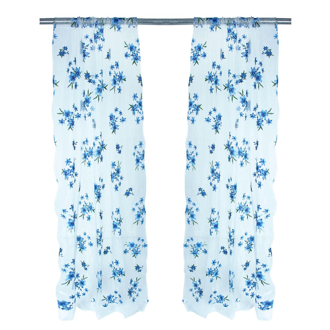 Bedroom Door Flower Pattern Elegent Divider Window Sheer Curtain 100 x 200cm