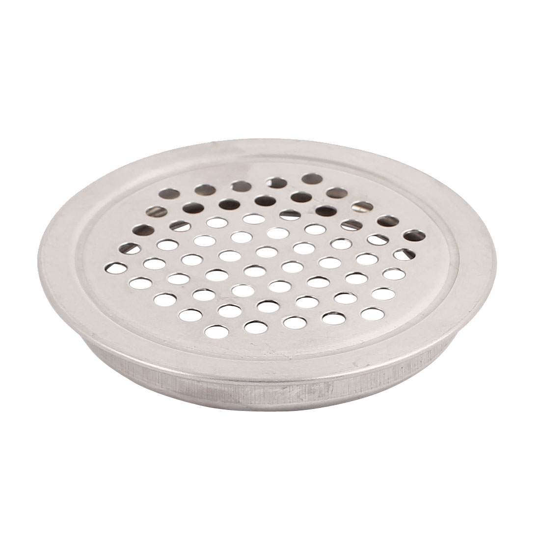 Cupboard 53mm Bottom Dia Round Flat Metal Vent Louver Mesh Hole Silver Tone