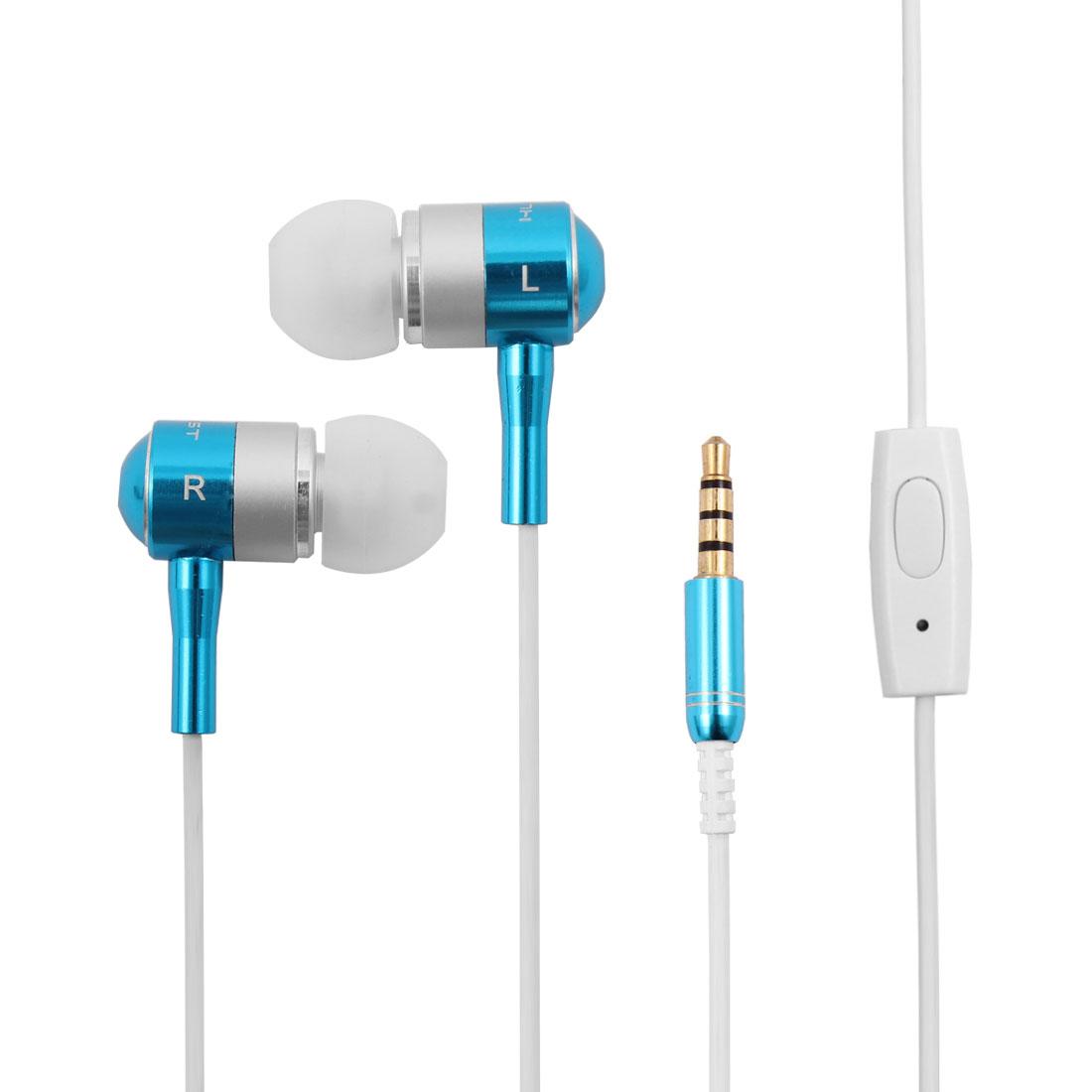 3.5mm Jack In-Ear Earbuds Headset Music Stereo Earphone Teal Blue w Microphone