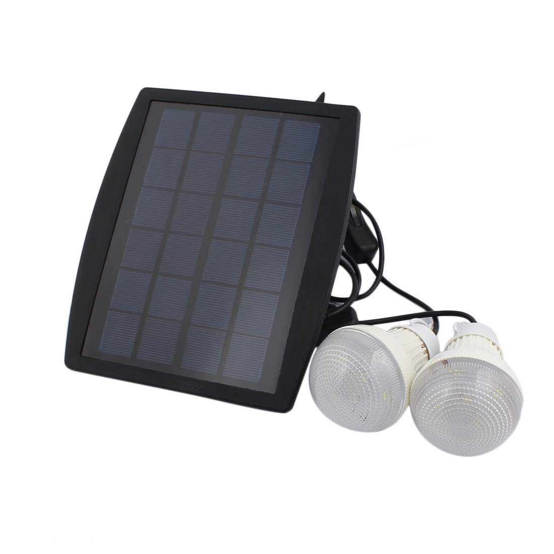 Outdoor Solar Panel Powered 2 LED Bulb Lamp Portable Camp Tent Fishing Light Hook