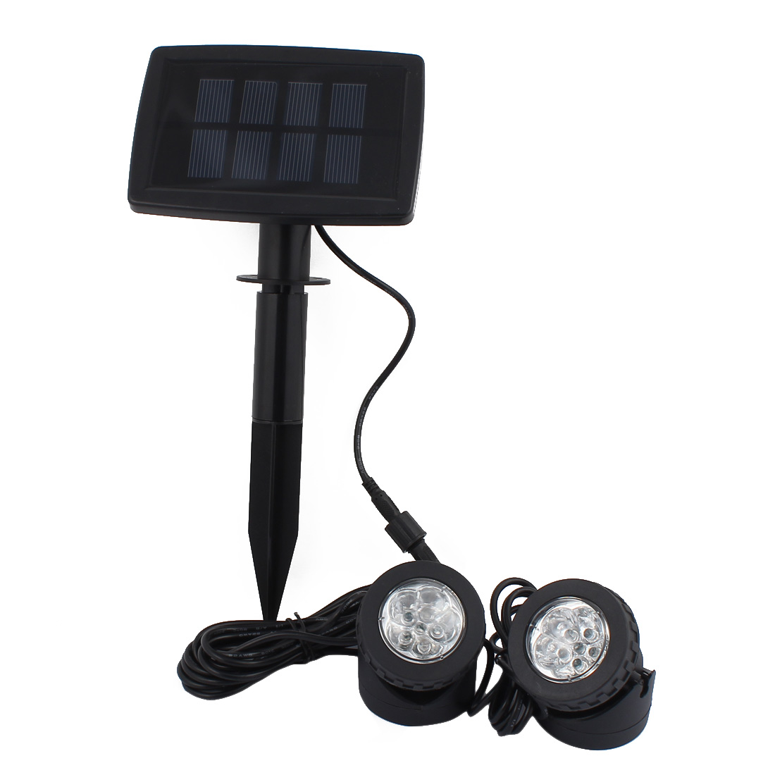 Solar Power 12 LEDs Landscape Spotlight Projection Light with 2 Submersible Lamps for Garden Pool Pond Outdoor Decoration Lighting Underwater Light