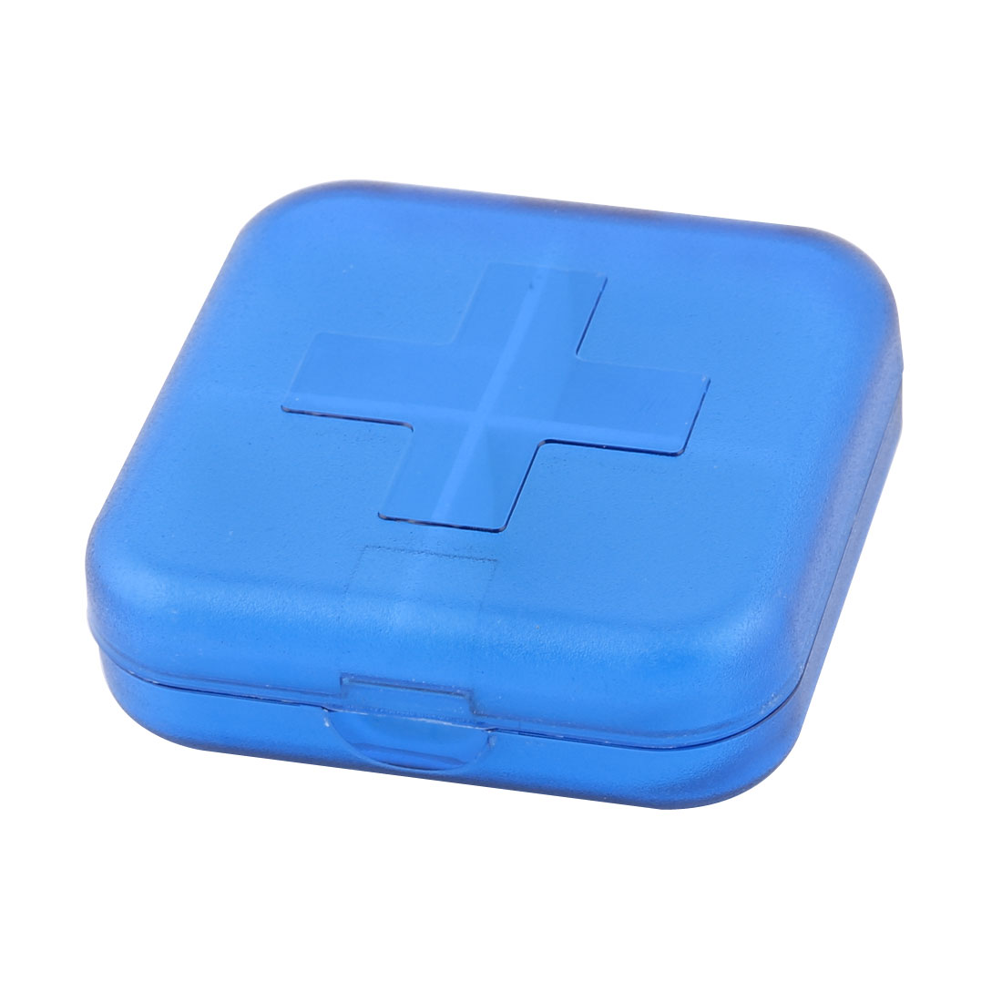 Plastic Rectangle 4 Slots Medicine Pill Capsule Storage Box Clear Blue