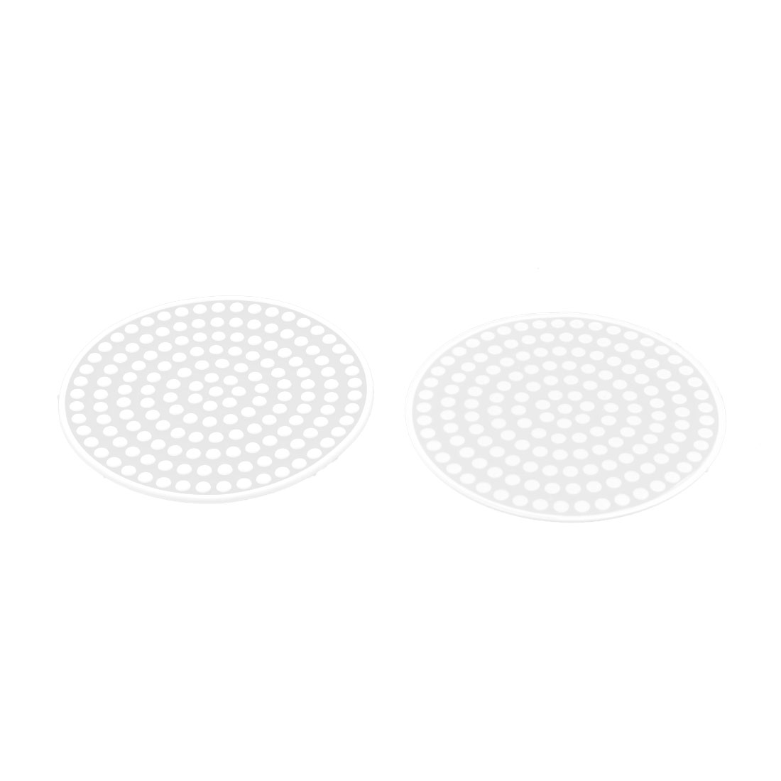 Silicone Round Shape Dots Design Heat Resistant Cup Bowl Mat Coaster White 2 Pcs