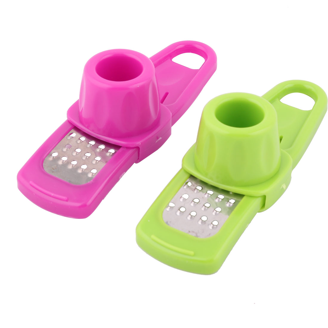 Home Removable Hand-Protecting Cover Garlic Ginger Grater Green Fuchsia 2 Pcs