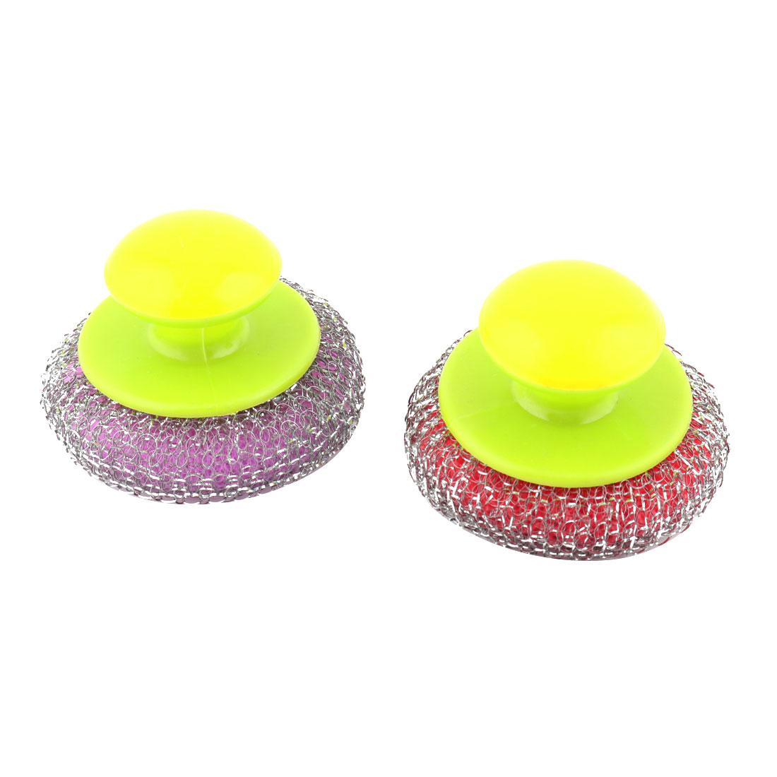 Home Plastic Handle Metal Wire Ball Pot Wok Cleaning Brush Assorted Color 2 Pcs