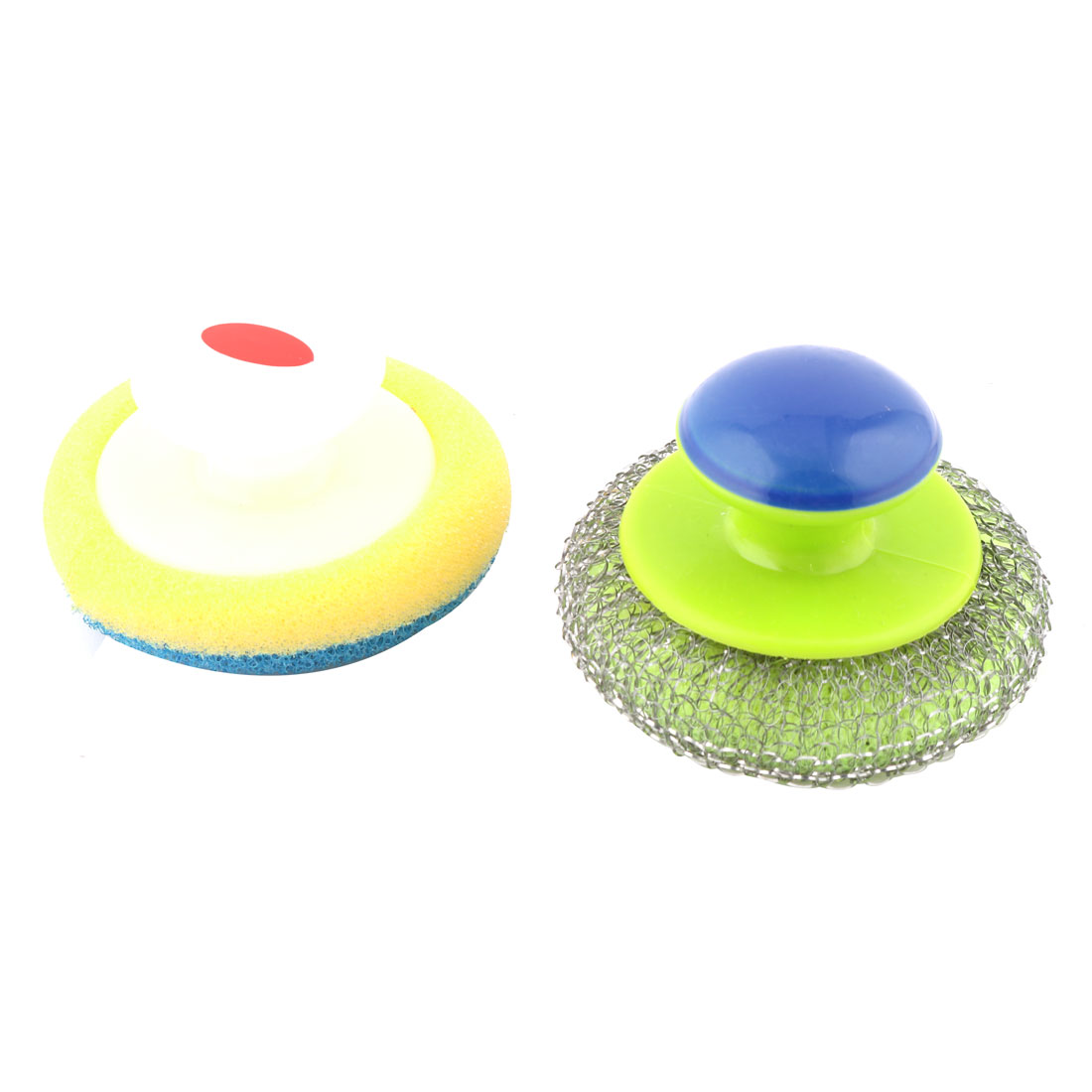 Kitchen Plastic Handle Pot Pan Wok Bowl Cleaning Brush Assorted Color 2 Pcs
