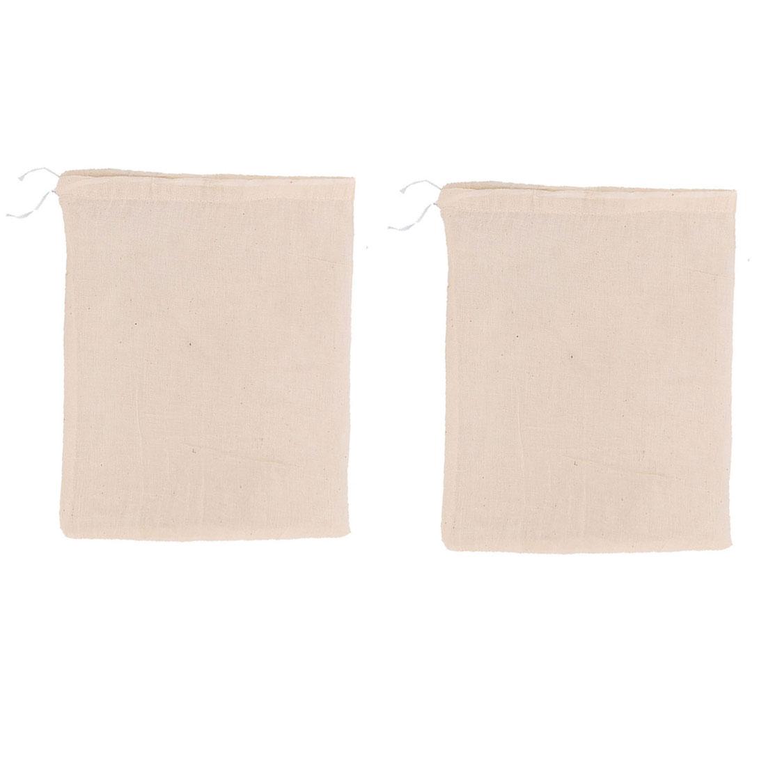Fabric Drawstring Closure Design Food Soup Herbal Filter Bag Beige 2 Pcs