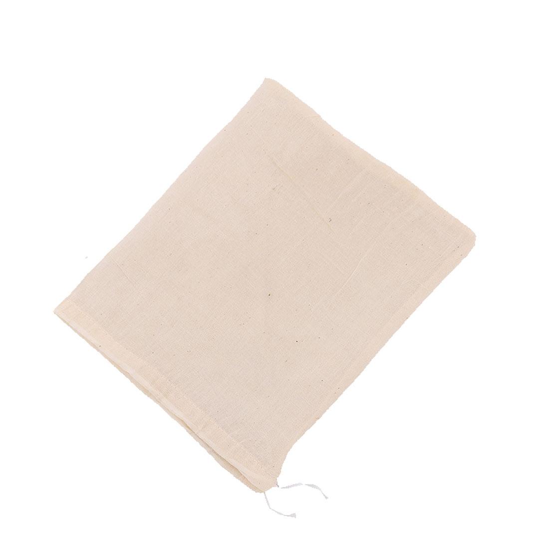Fabric Drawstring Closure Design Reusable Food Soup Filter Bag Beige