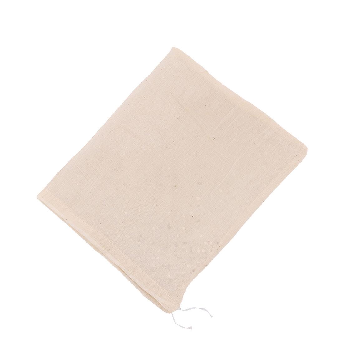 Fabric Drawstring Closure Design Food Soup Herbal Filter Bag Beige 37cm x 29cm