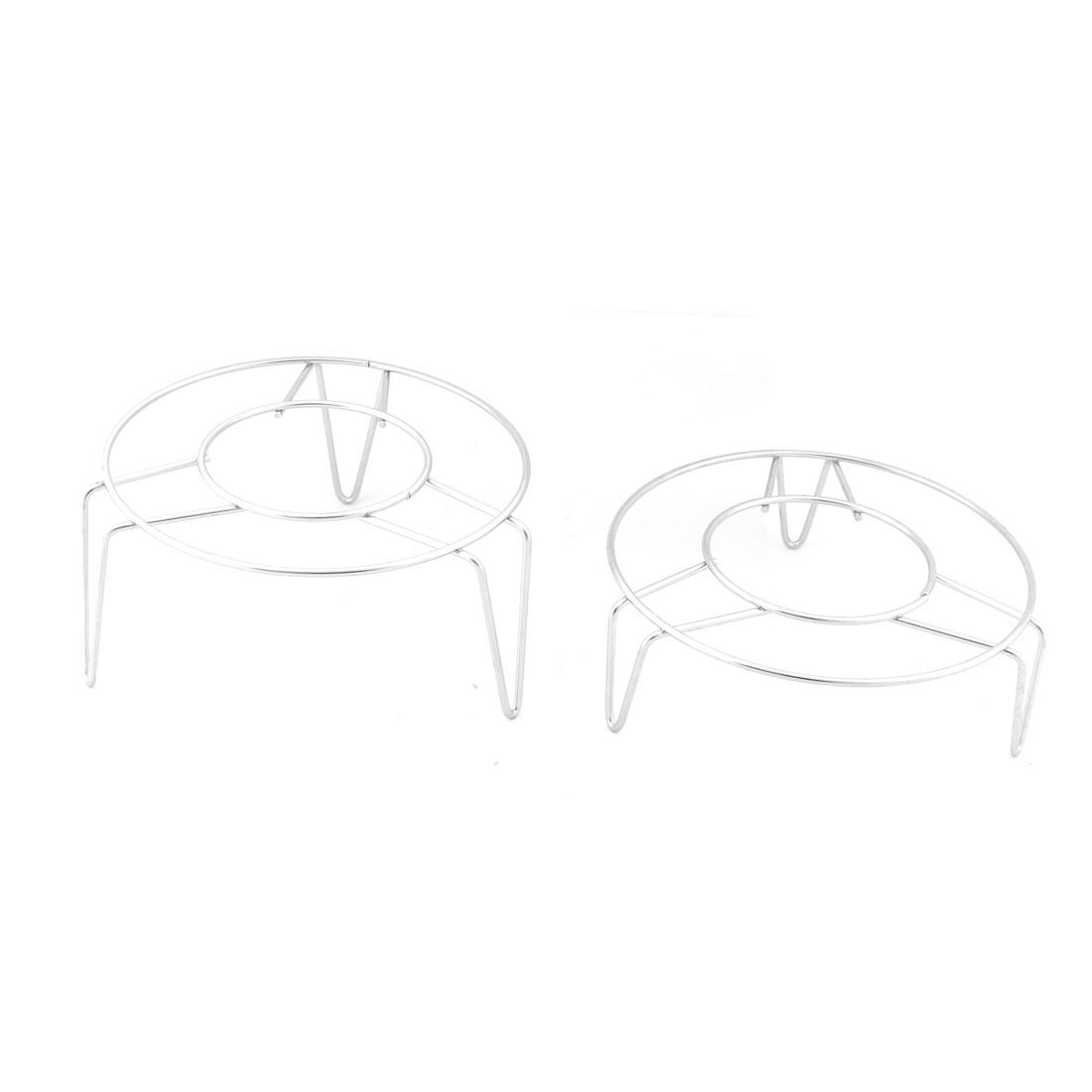 Kitchen Stainless Steel Round Shape 3 Legs Design Steam Rack Silver Tone 2 in 1