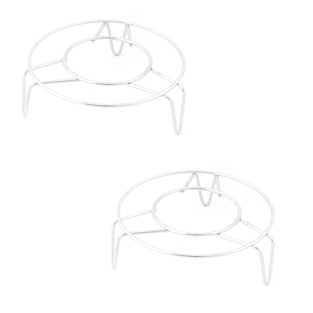 Stainless Steel Round Shape 3 Legs Design Steam Rack 12.5cm x 4cm 2 Pcs