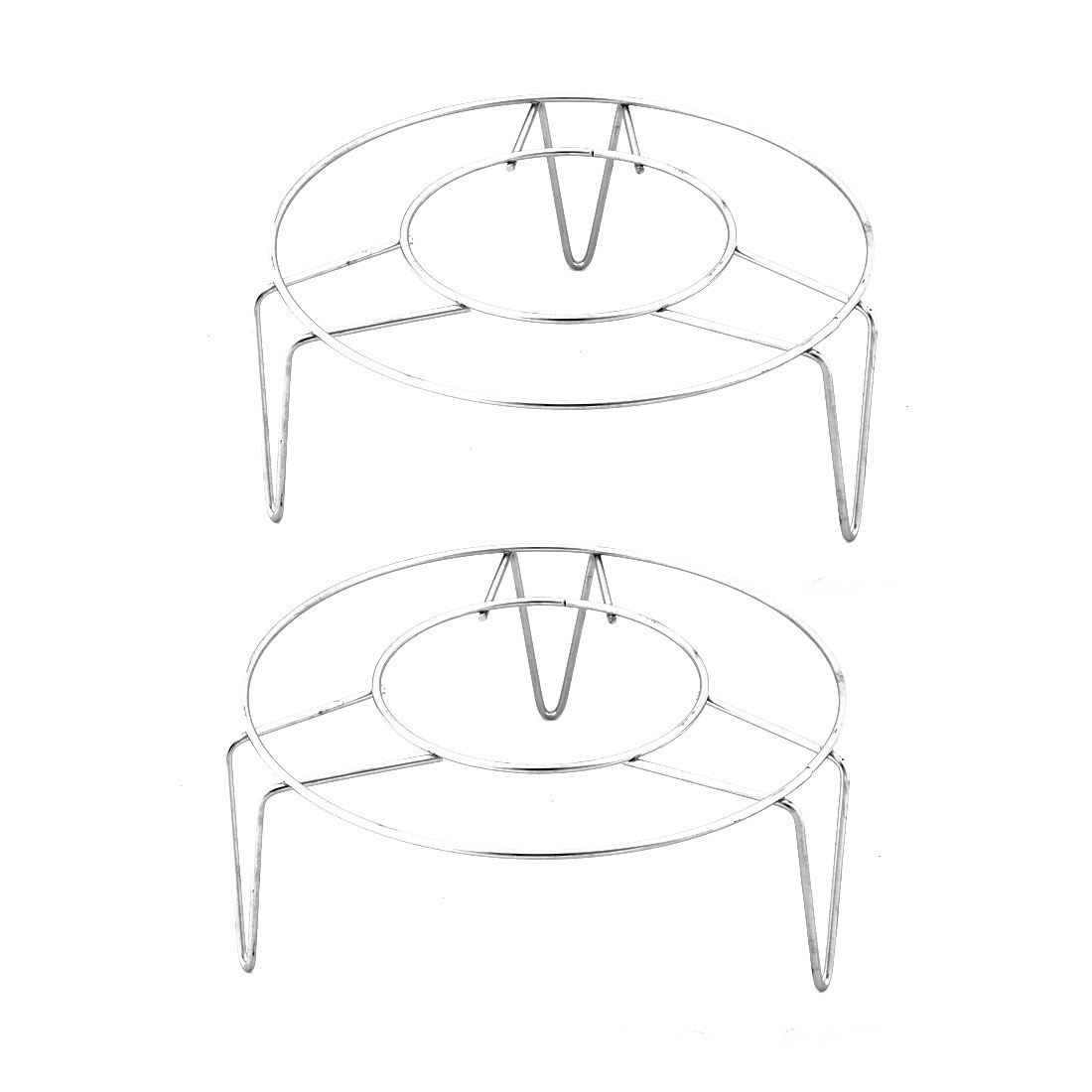 Stainless Steel Round Shape 3 Legs Design Cooking Steamer Steam Rack 2 Pcs